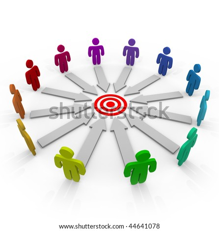 A group of competitors in a circle aiming for the same goal - stock photo