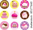 A group of cupcake circles for a baby shower or a girl's cupcake themed party. - stock photo