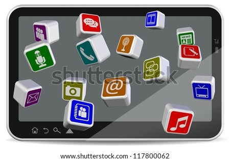 A group of different application icons coming from tablet PC / Tablet PC applications - stock photo