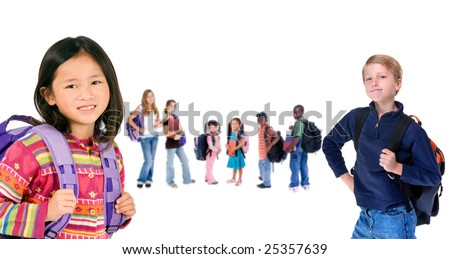 A group of diverse students ready for school - stock photo