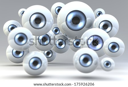 A group of eye balls, staring at viewer, 3d rendering on dim background - stock photo