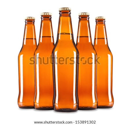 A group of five beer bottles in a diamond formation.