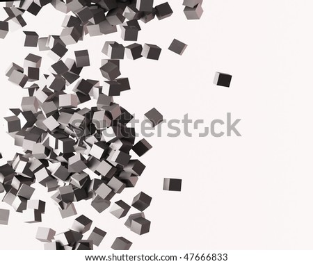 a Group of flying cubes - stock photo