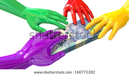 A group of glossy multicolored hands reaching and grappling at a wad of one hundred rand bank notes on an isolated white background - stock photo