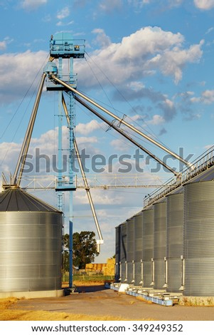 A group of granaries and elevators for storing wheat and other cereal grains.