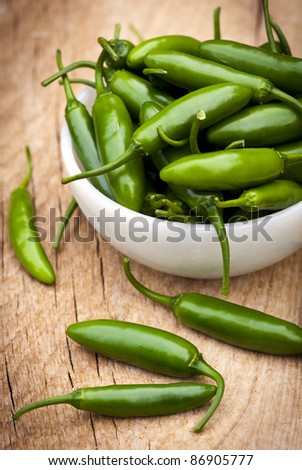 A group of green peppers in a white bowl.