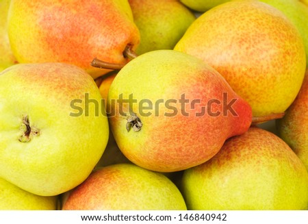 A group of green- red and fresh pears background - stock photo