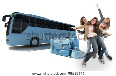 A group of happy girls celebration a coach trip - stock photo