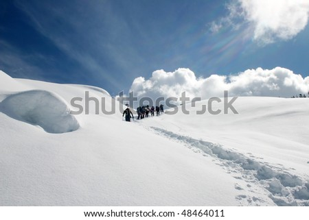 A group of hikers were crossing the snow peak during winter season snowshoeing near BC, Canada. - stock photo