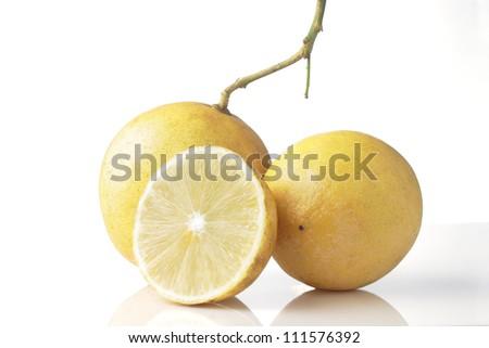 a group of lemon isolated on white background - stock photo