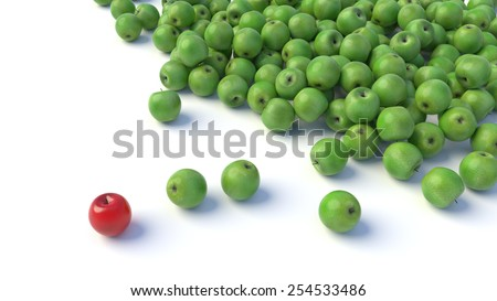 A group of many green apples and a red one, out from the crowd. - stock photo