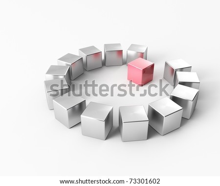 A group of metal cubes on a cycle - stock photo