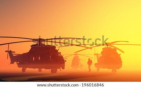 A group of military helicopters. - stock photo