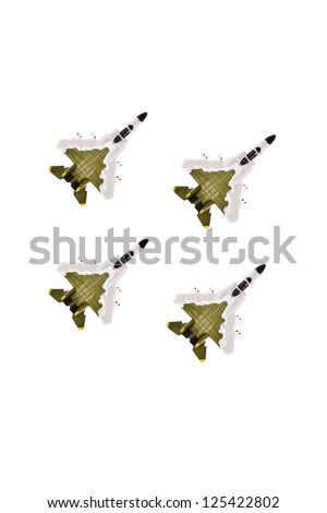 A group of Miniature military jet going to the battlefield - stock photo