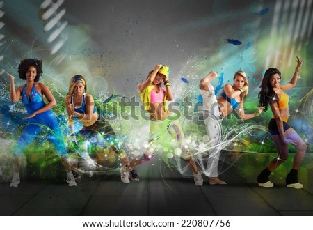 A group of Modern dancer with motion effect - stock photo