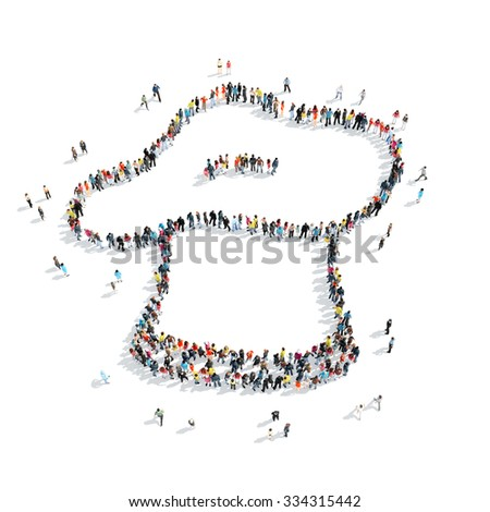 A group of people in the form of chef's hat, cartoon, isolated, white background. - stock photo