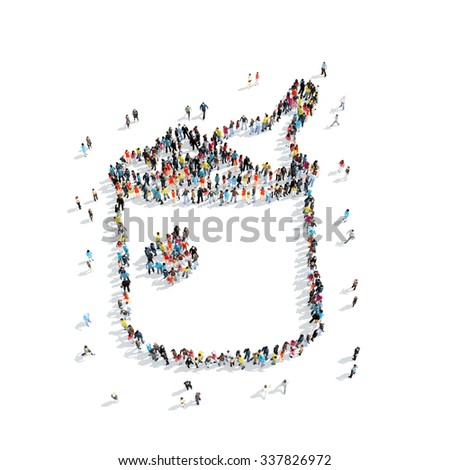 A group of people in the shape of a bucket of champagne, cartoon, isolated, white background. - stock photo