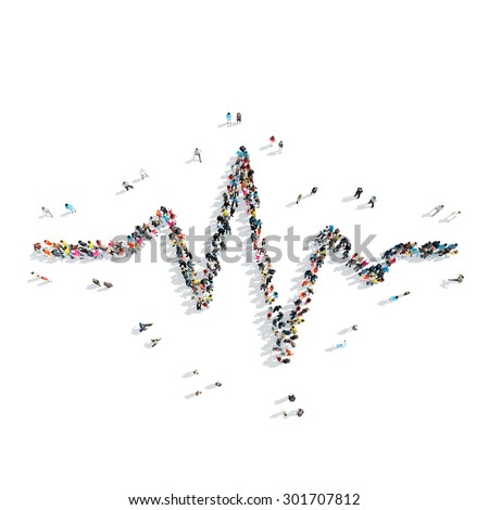 A group of people in the shape of a cardiogram, medicine, flash mob. - stock photo