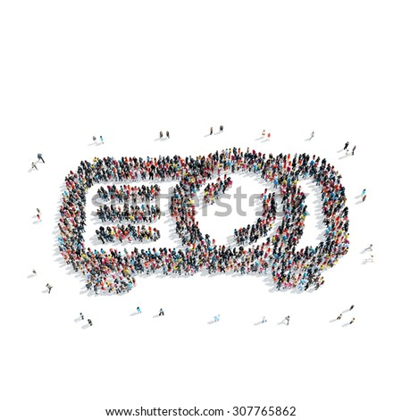 A group of people in the shape of a film projector, isolated, white background. - stock photo