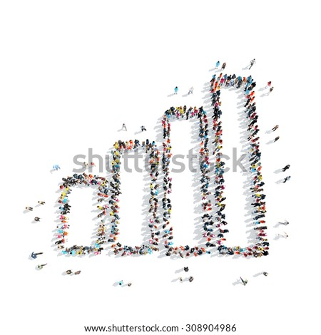 A group of people in the shape of a graph, cartoon, isolated, white background. - stock photo