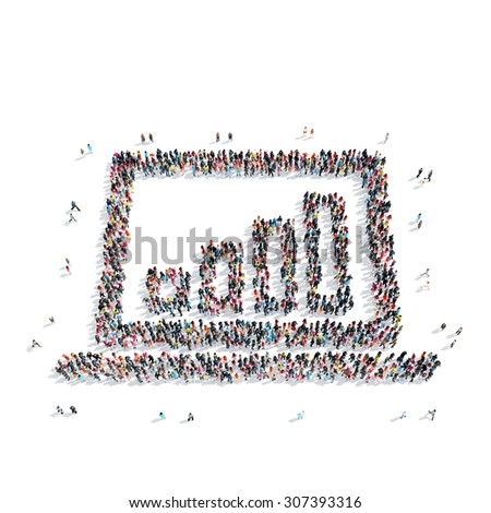 A group of people in the shape of a graph, finance, flash mob. - stock photo