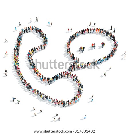 A group of people in the shape of a handset, cartoon, isolated, white background. - stock photo