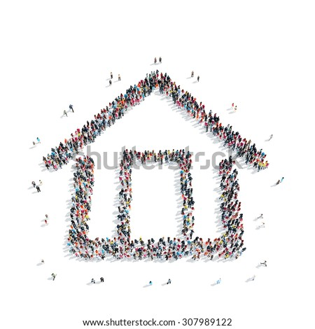 A group of people in the shape of a house, isolated, white background. - stock photo