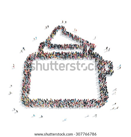 A group of people in the shape of a toaster, isolated, white background. - stock photo