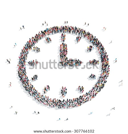 A group of people in the shape of a watch, isolated, white background. - stock photo
