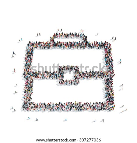 A group of people in the shape of briefcase, flash mob. - stock photo