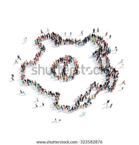 A group of people in the shape of gear is isolated, cartoon, white background. - stock photo