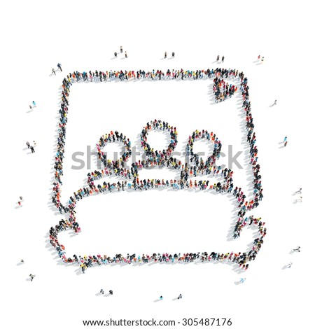 A group of people in the shape of men in bed, a flash mob. - stock photo