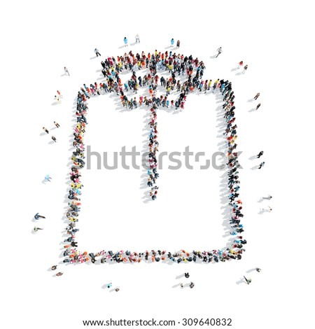 A group of people in the shape of scales, cartoon, isolated, white background. - stock photo