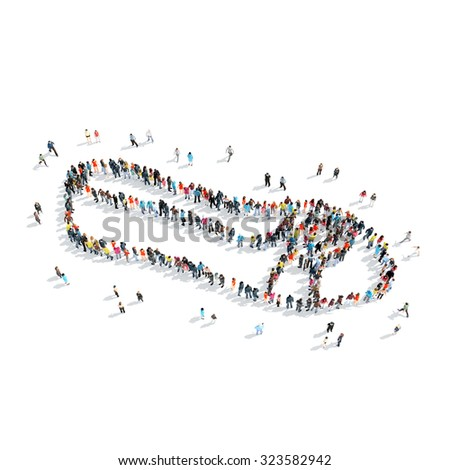 A group of people in the shape of shoes, cartoon, isolated, white background. - stock photo