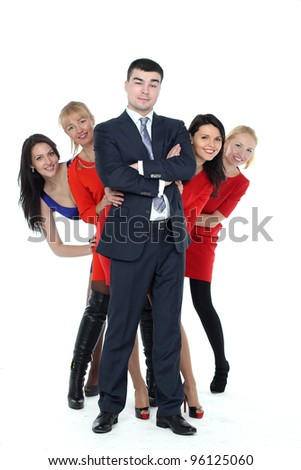 a group of people standing in the full-length isolated on white background - stock photo