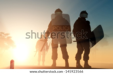 A group of policemen with guns in the sun. - stock photo