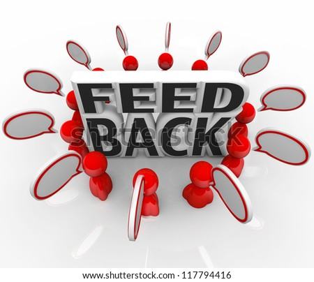 A group of red people gathered around the word Feedback with speech bubbles, sharing opinions, viewpoints, comments and reviews - stock photo