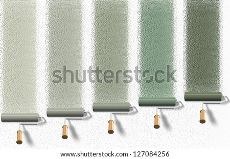 A group of roller brushes painting a white wall / Roller brush palette - stock photo