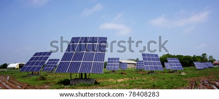 a group of solar panels - stock photo