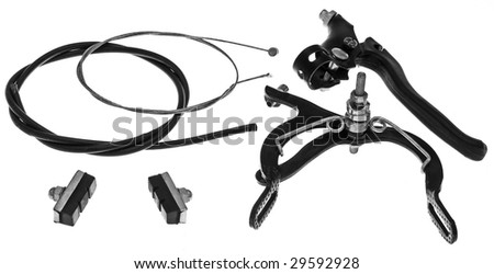 A group of spare parts for repairing bicycle brakes. Isolated on White. - stock photo
