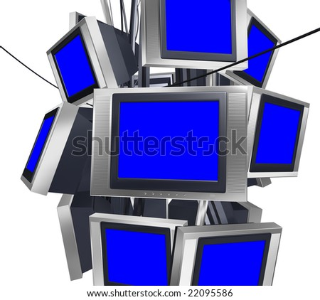 A group of suspending TVs