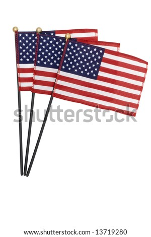 A group of three American flags isolated on white. - stock photo
