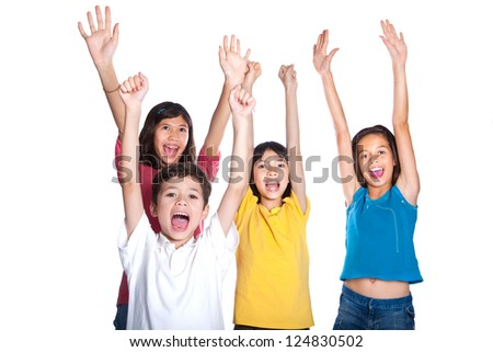 A group of very happy young children - stock photo