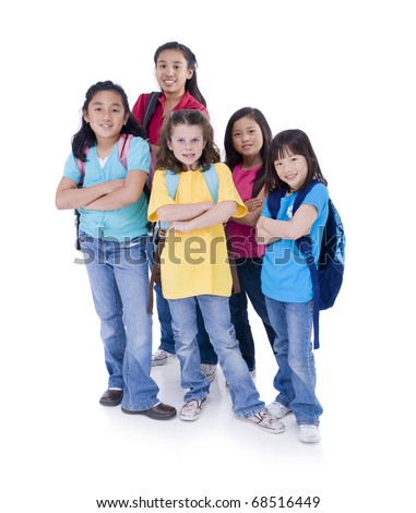 A group of young asian and caucasian girls ready for school