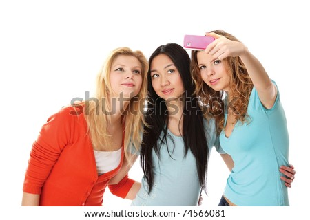 A group of young college girls taking photo - stock photo