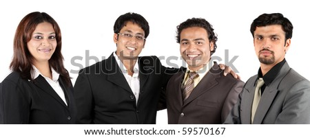 A group of young Indian business team, on white studio background. - stock photo