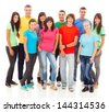 A group of young people, isolated on white. - stock photo