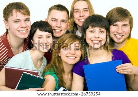 A group portrait of smiling young people - stock photo
