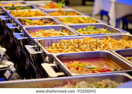A Groups of Buffet in the Restaurant - stock photo