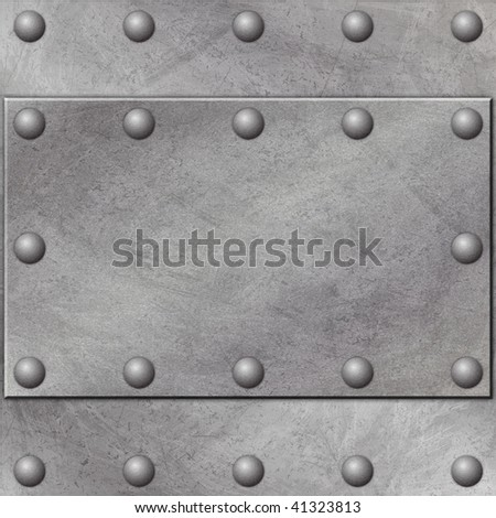 A Grunge Metal Background with Rivets - stock photo